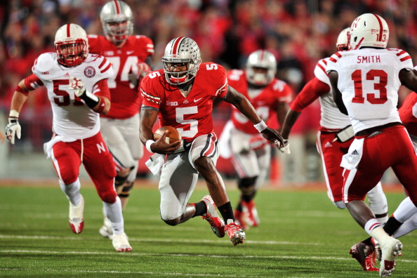 COLUMBUS, OH - OCTOBER 6:  Quarterback Braxton Miller #5 of the Ohio State Buckeyes cuts upfield as he picks up yardage against the Nebraska Cornhuskers in the second quarter at Ohio Stadium on October 6, 2012 in Columbus, Ohio.  (Photo by Jamie Sabau/Getty Images)