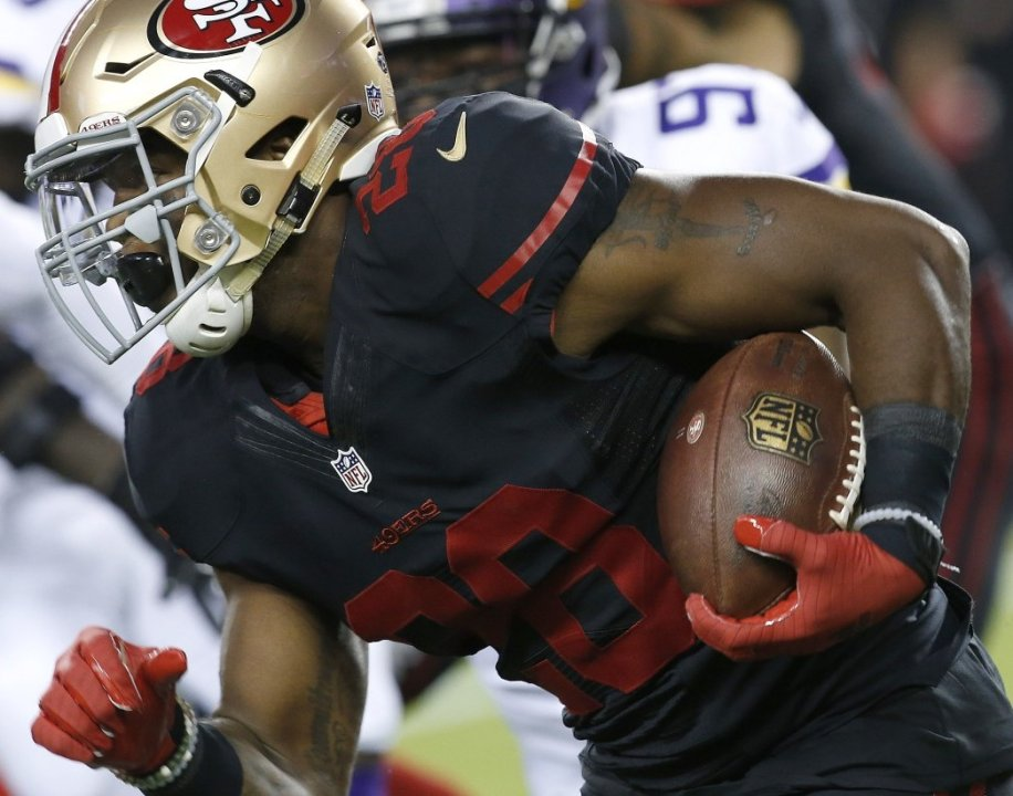 San Francisco 49ers Running Back Carlos Hyde 28 Runs Against The Minnesota Vikings During First Half Of An Nfl Football In Santa Clara Calif