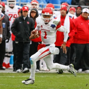 02 JAN 2015: Houston Cougars quarterback Greg Ward Jr. (1) during the Lockheed Martin Armed Forces Bowl between the Houston Cougars and the Pittsburgh Panthers played at Amon G. Carter Stadium in Fort Worth, TX.  Houston defeats Pittsburgh 35-34.