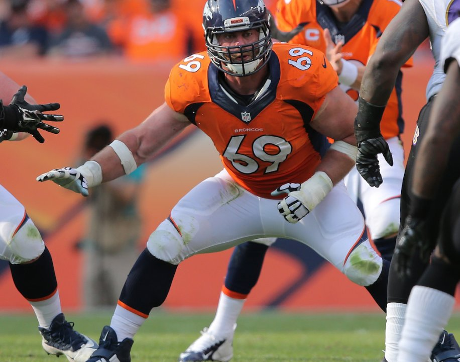 2991296f DENVER, CO - SEPTEMBER 13: Offensive lineman Evan Mathis #69 of the Denver  Broncos defends the line of scrimmage against the Baltimore Ravens at  Sports ...