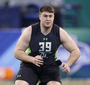 INDIANAPOLIS, IN - FEBRUARY 26: Offensive lineman Matt Skura of Duke in action during the 2016 NFL Scouting Combine at Lucas Oil Stadium on February 26, 2016 in Indianapolis, Indiana. (Photo by Joe Robbins/Getty Images)