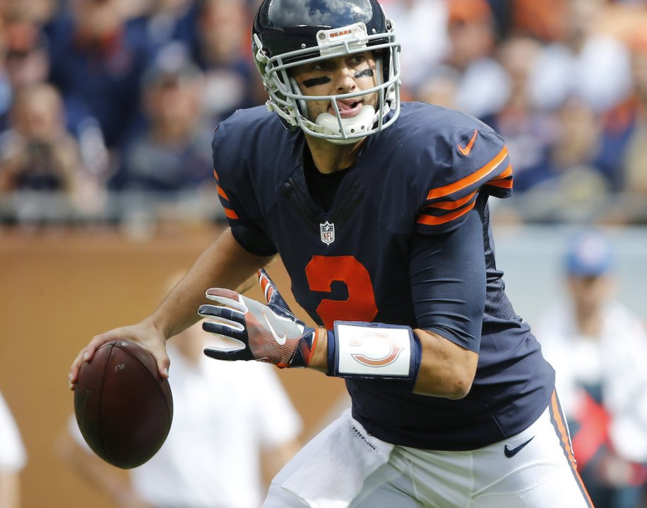 441b76f1efc Chicago Bears quarterback Brian Hoyer (2) scrambles and then throws a  touchdown pass to Chicago Bears wide receiver Eddie Royal (19) in the first  quarter ...