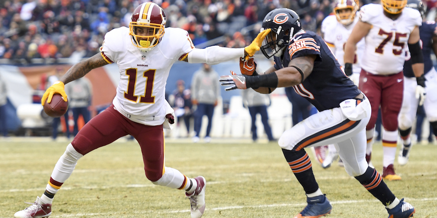 CHICAGO, IL - DECEMBER 24:  Washington Redskins wide receiver DeSean Jackson (11) fends off Chicago Bears inside linebacker Jerrell Freeman (50) during second at Soldier Field in Chicago, Il on December 24, 2016. (Photo by Jonathan Newton/The Washington Post via Getty Images)