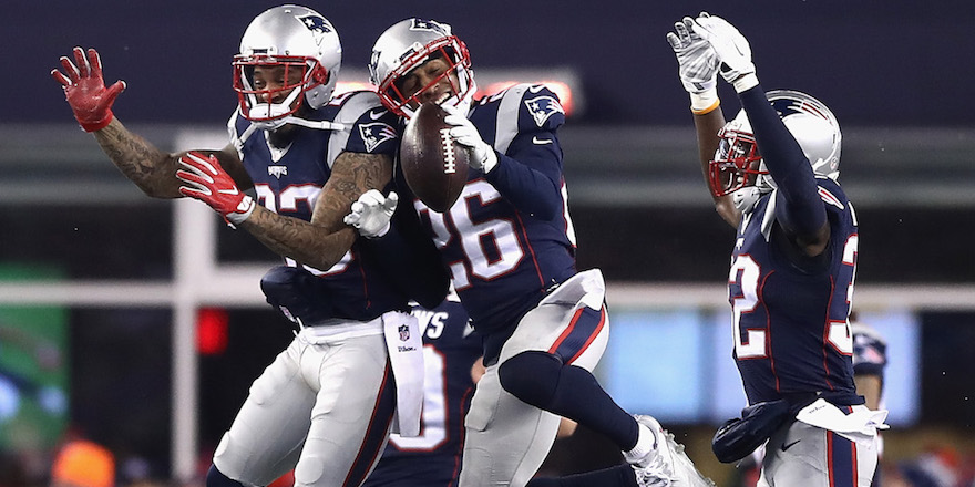 FOXBORO, MA - JANUARY 14:  Logan Ryan #26 of the New England Patriots reacts in the second half against the Houston Texans during the AFC Divisional Playoff Game at Gillette Stadium on January 14, 2017 in Foxboro, Massachusetts.  (Photo by Elsa/Getty Images)