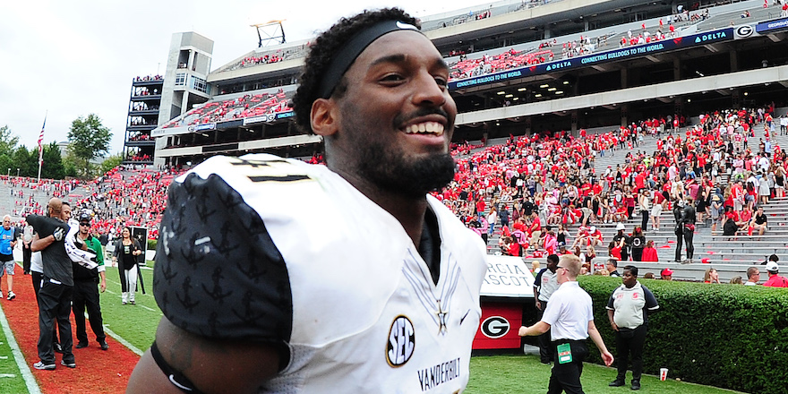 ATHENS, GA - OCTOBER 15: Zach Cunningham #41 of the Vanderbilt Commodores celebrates after the game against the Georgia Bulldogs at Sanford Stadium on October 15, 2016 in Athens, Georgia. (Photo by Scott Cunningham/Getty Images)