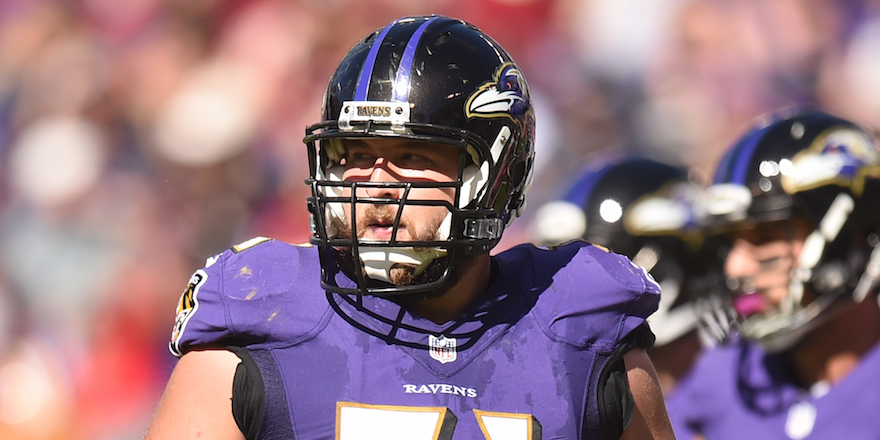 BALTIMORE, MD - OCTOBER 09: Ricky Wagner #71 of the Baltimore Ravens looks on during a football game against the Washington Redskins at M & T Stadium on October 9, 2016 in Baltimore, Maryland. The Redskins won 16-10. (Photo by Mitchell Layton/Getty Images)