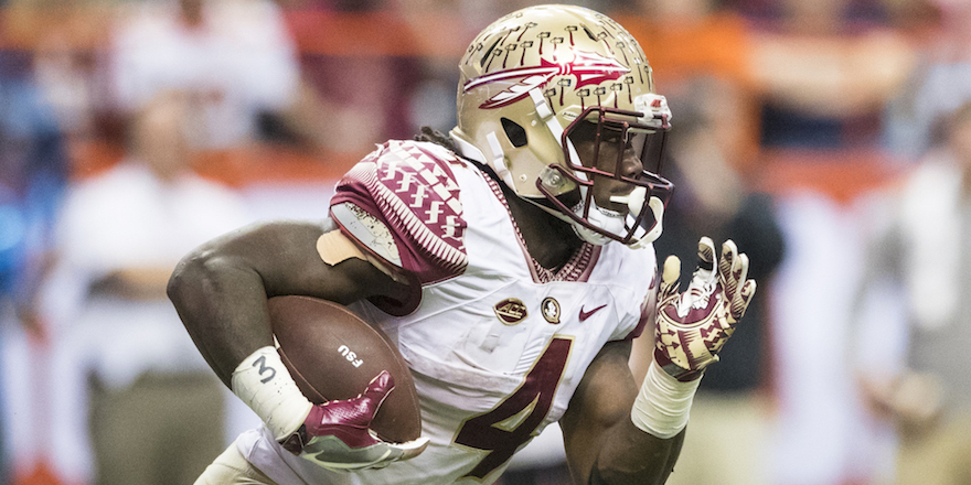SYRACUSE, NY - NOVEMBER 19: Dalvin Cook #4 of the Florida State Seminoles carries the ball during the game against the Syracuse Orange on November 19, 2016 at The Carrier Dome in Syracuse, New York. Florida State defeats Syracuse 45-14. (Photo by Brett Carlsen/Getty Images)