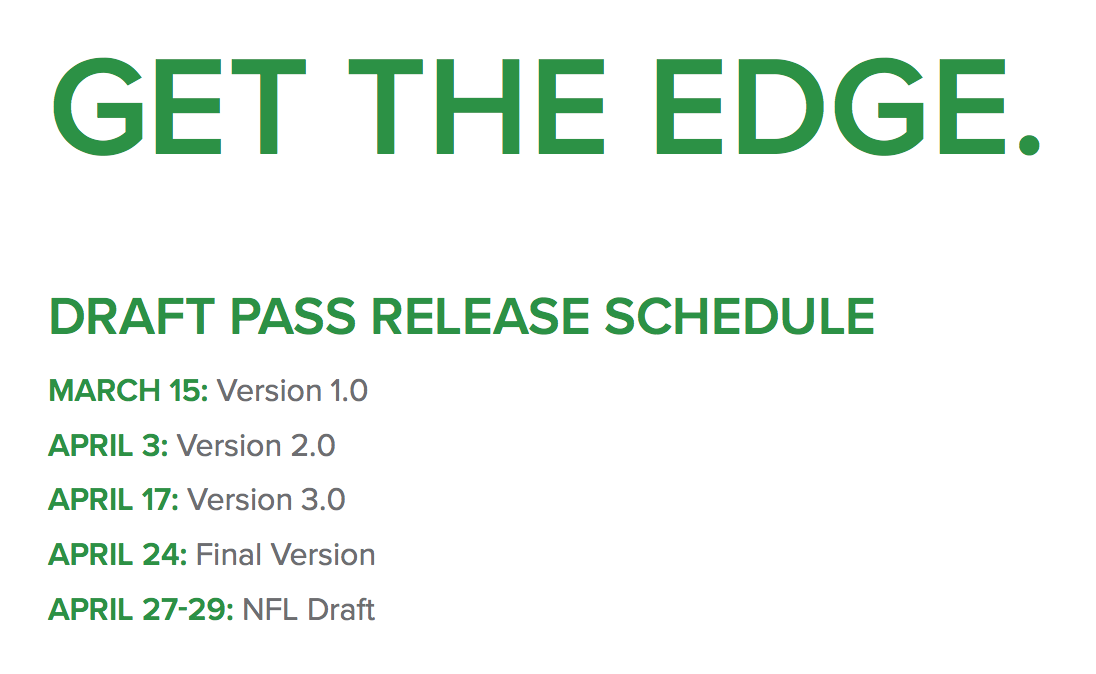 PFF Draft Pass Schedule
