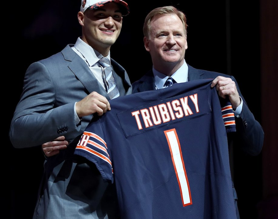 ed471adaf ... 27  (L-R) Mitchell Trubisky of North Carolina poses with Commissioner  of the National Football League Roger Goodell after being picked  2 overall  by the ...