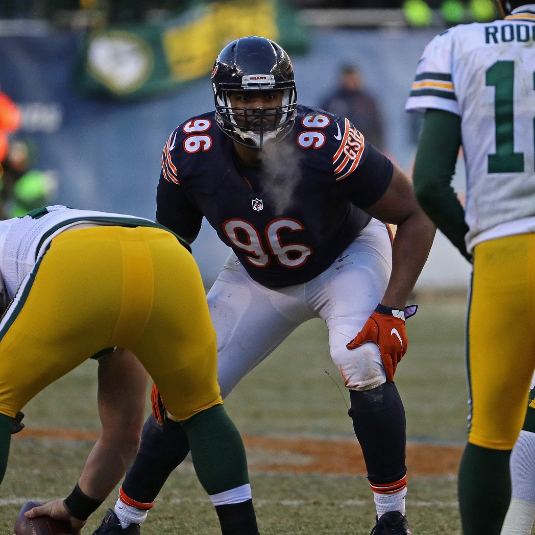 chicago il december akiem hicks of the chicago bears awaits the snap against the green bay packers at soldier field on december