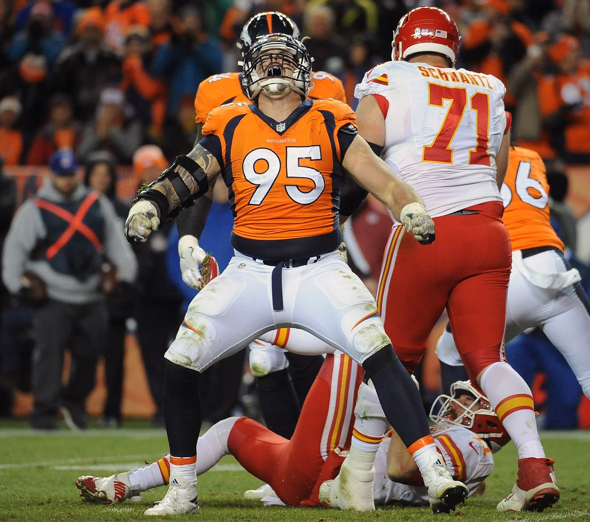 Appreciative Derek Wolfe says he 'Dodged a bullet' and to #blameitonthecleats