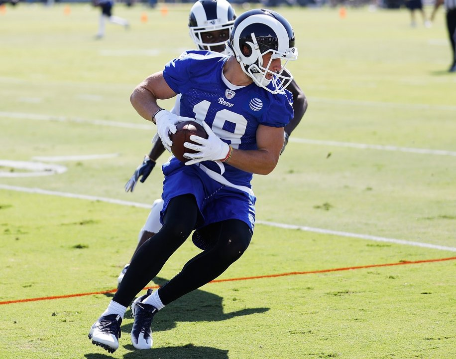 Irvine Ca July 29 Cooper Kupp 18 Of The Los Angeles Rams Runs Through A Drill During First Day Training Camp At Crawford Field On