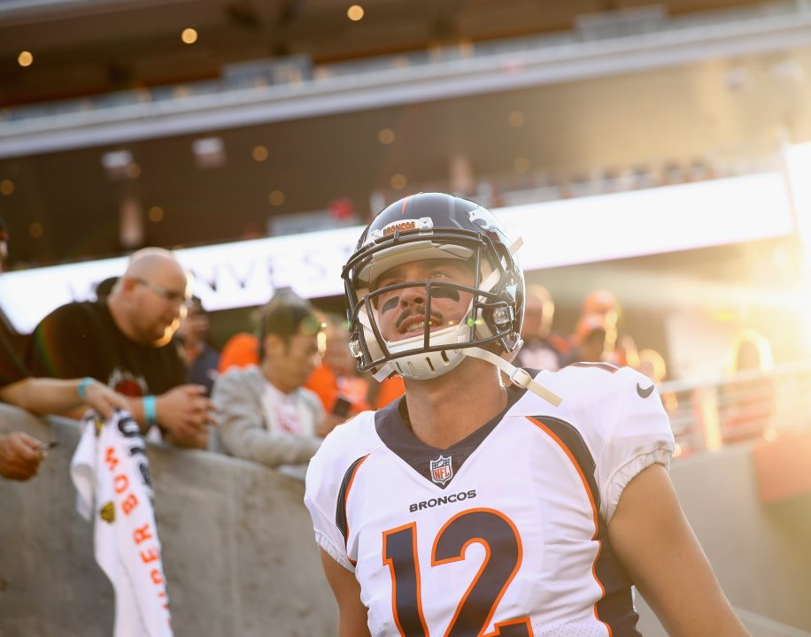 Santa Clara Ca August 19 Paxton Lynch 12 Of The Denver Broncos Runs On To Field Warm Up For Their Against San Francisco 49ers At Levi S