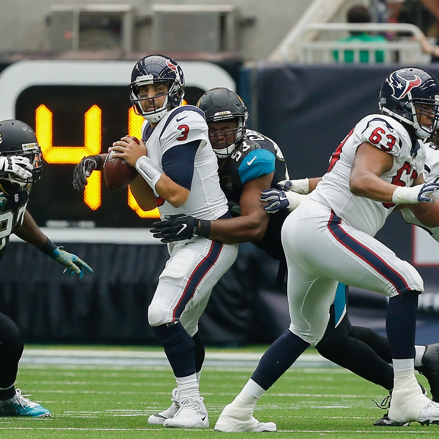 HOUSTON, TX   SEPTEMBER 10: Tom Savage #3 Of The Houston Texans Is Sacked  By Calais Campbell #93 Of The Jacksonville Jaguars In The Second Quarter At  NRG ...