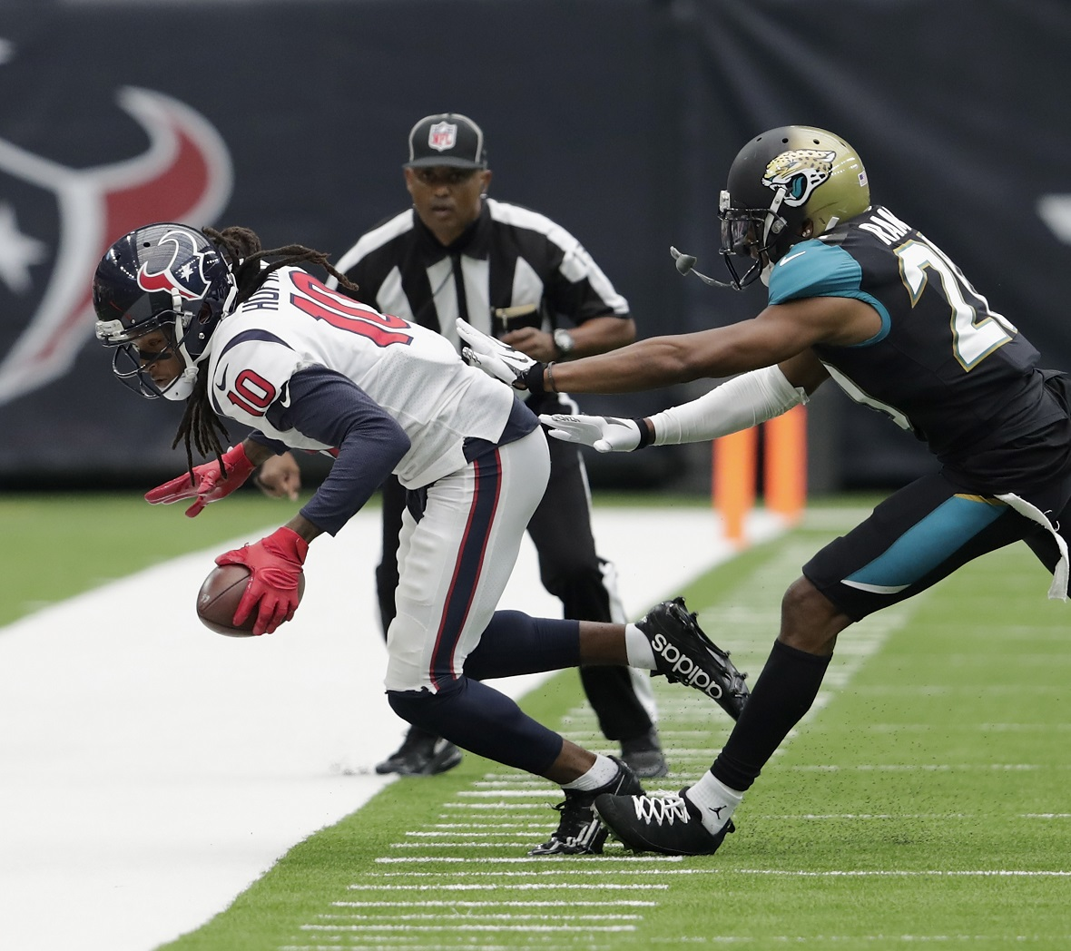 HOUSTON, TX   SEPTEMBER 10: DeAndre Hopkins #10 Of The Houston Texans Is  Forced Out Of Bounds By Jalen Ramsey #20 Of The Jacksonville Jaguars In The  Third ...
