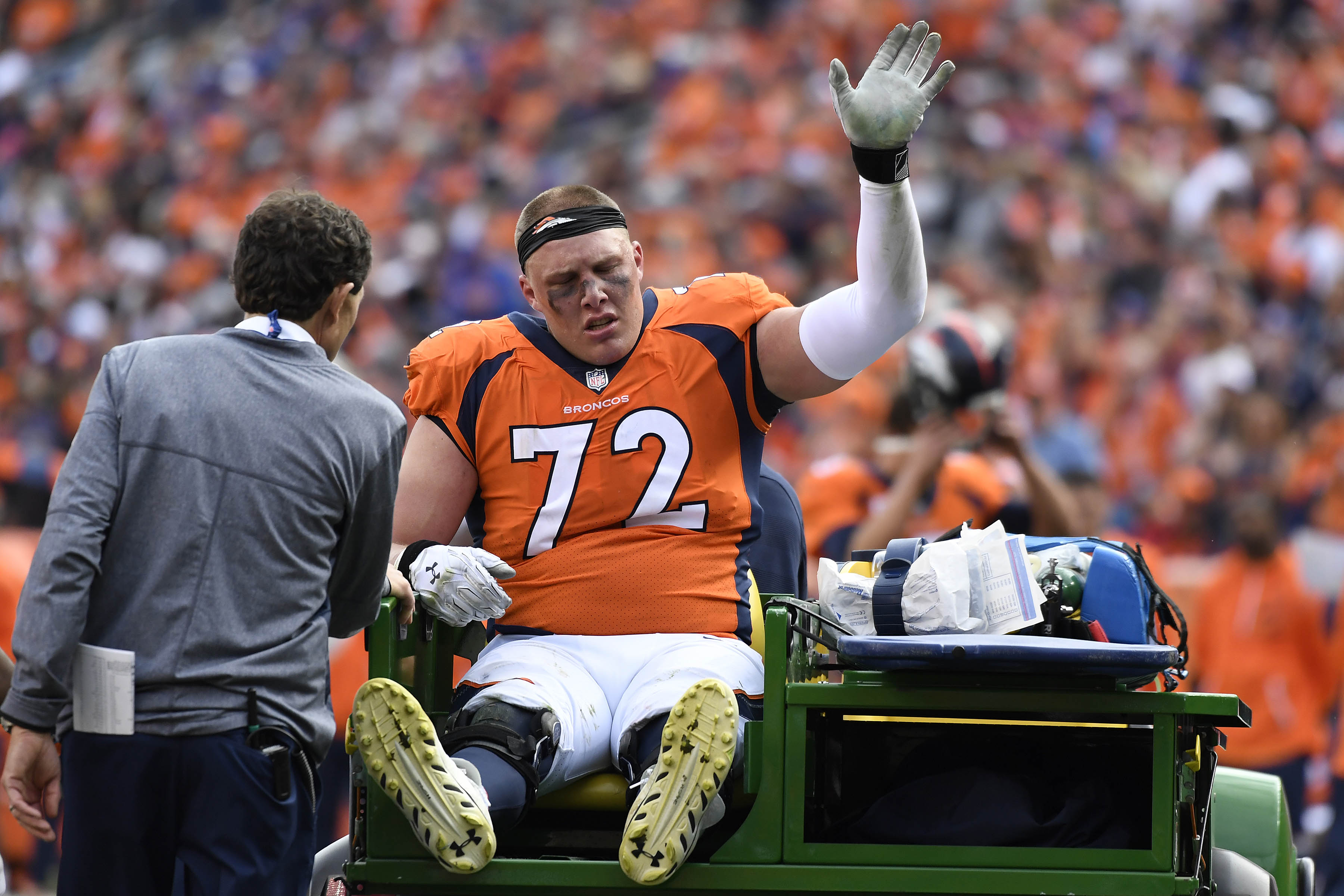 LT Garett Bolles has high ankle sprain, report says""