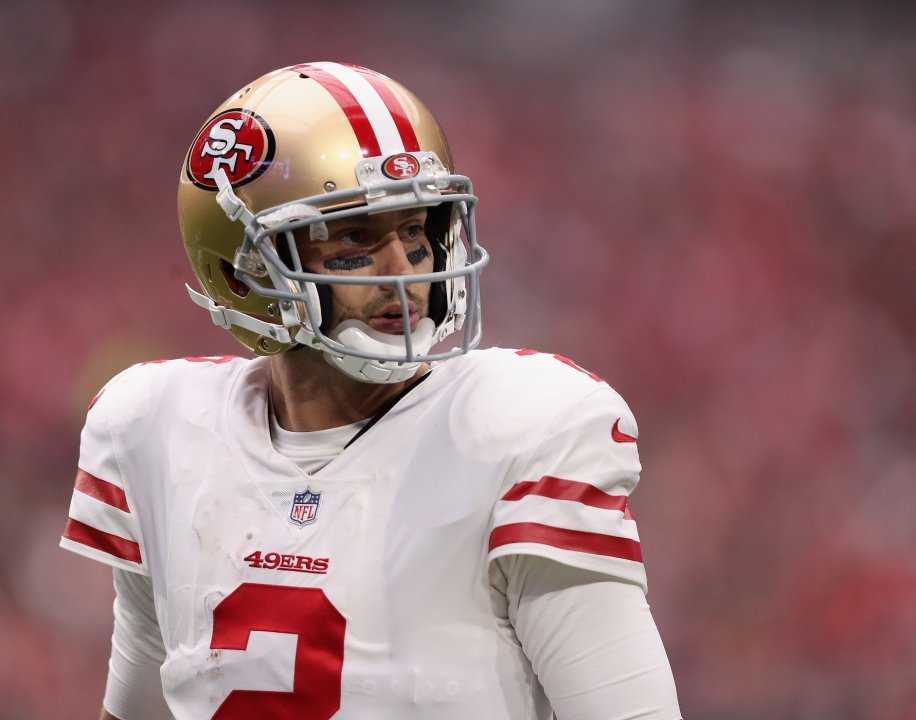 1d325dcd0c0 GLENDALE, AZ - OCTOBER 01: Quarterback Brian Hoyer #2 of the San Francisco  49ers walks off the field during the NFL game against the Arizona Cardinals  at ...