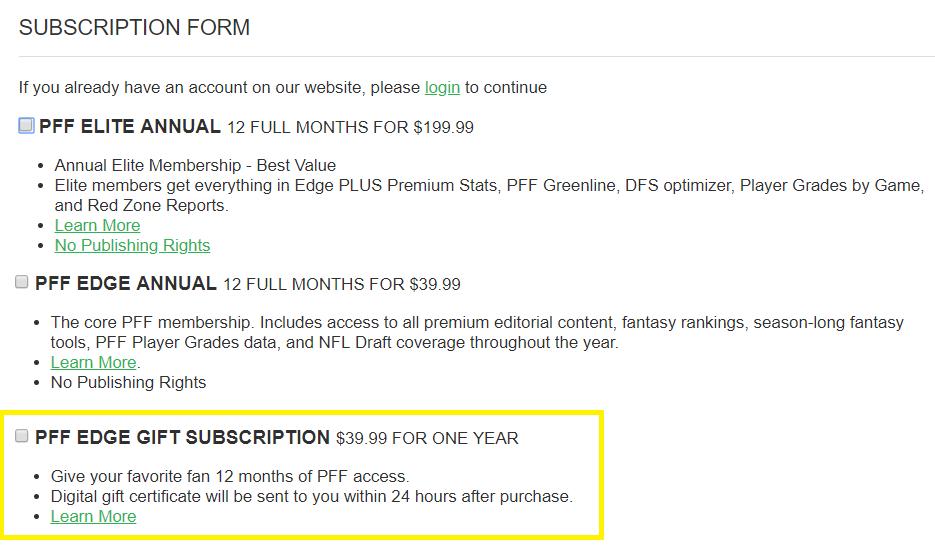 pff gift subscription