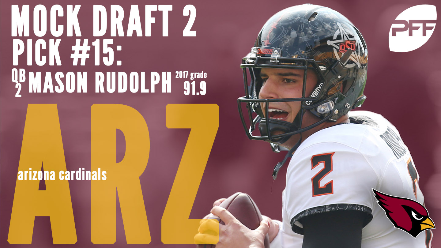 PFF Mock Draft 2 - Arizona Cardinals - Mason Rudolph