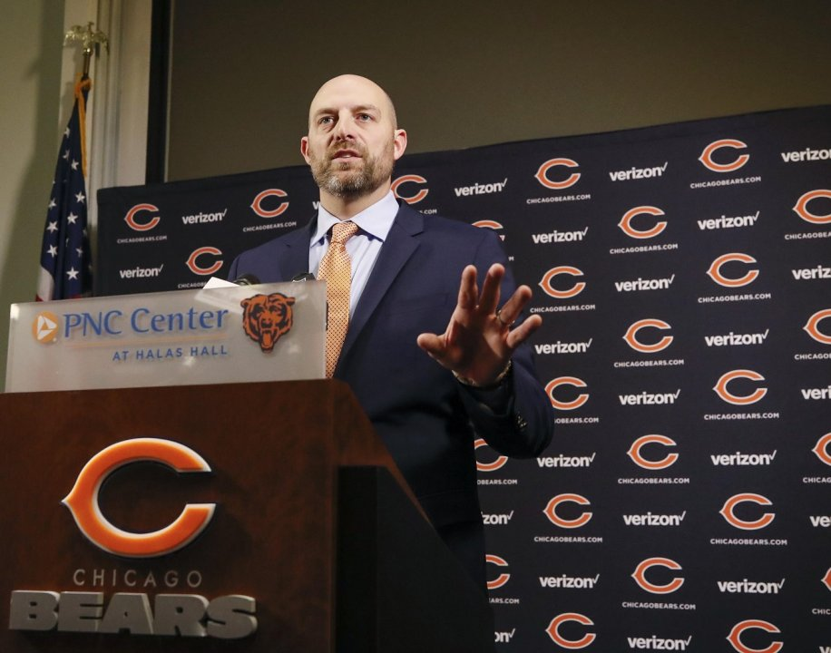 fe605e3b Jan 9, 2018; Lake Forest, IL, USA; Chicago Bears head coach Matt Nagy  speaks during the press conference at Halas Hall.