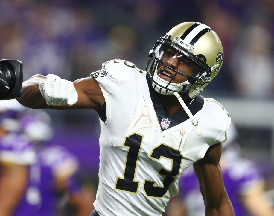Jan 14 2018 Minneapolis Mn Usa New Orleans Saints Wide Receiver Michael Thomas 13 Celebrates After Scoring A Touchdown Against The Minnesota Vikings