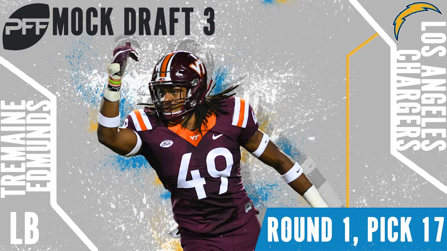 PFF Mock Draft 3 - Tremaine Edmunds
