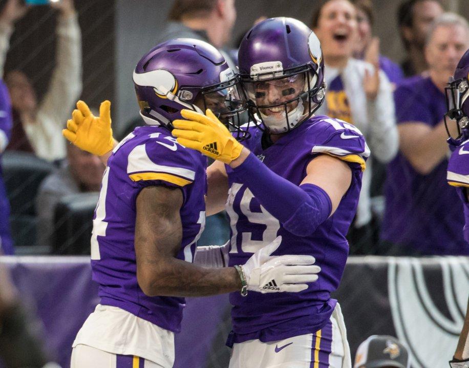 Dec 31 2017 Minneapolis Mn Usa Minnesota Vikings Wide Receiver Stefon Diggs 14 Celebrates His Touchdown With Adam Thielen 19 During