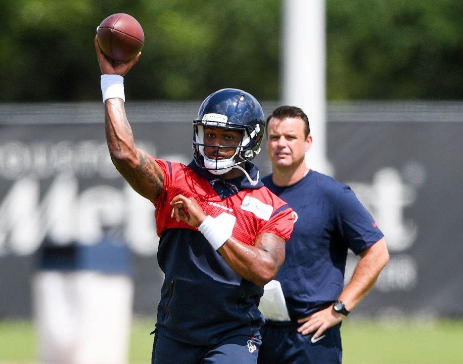 ba393e40bbf May 22, 2018; Houston, TX, USA; Houston Texans quarterback Deshaun Watson  (4) throws a pass during organized team activities at the team outdoor  practice ...