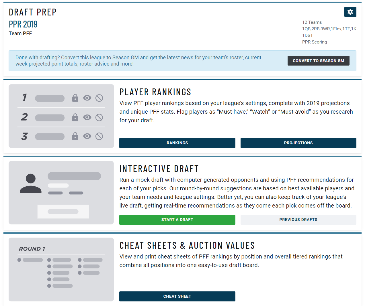 fantasy draft tools and cheat sheets