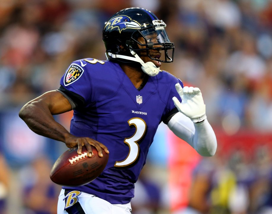 9f2051cc Aug 2, 2018; Canton, OH, USA; Baltimore Ravens quarterback Robert Griffin  III (3) looks to pass against the Chicago Bears in the first half at Tom  Benson ...