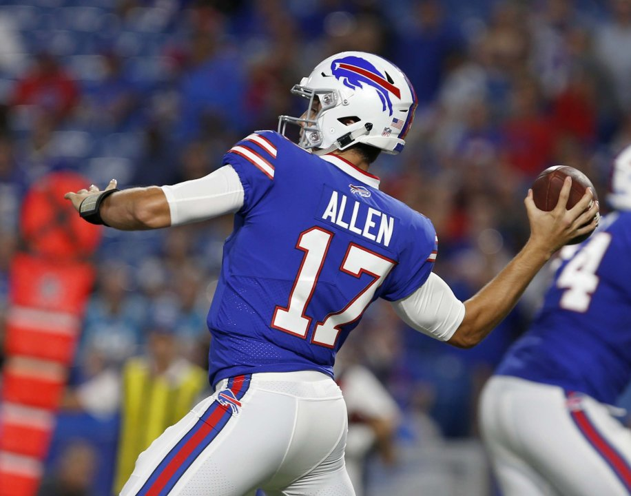 89a55391a Aug 9, 2018; Orchard Park, NY, USA; Buffalo Bills quarterback Josh Allen  (17) throws a pass during the second half against the Carolina Panthers at  New Era ...