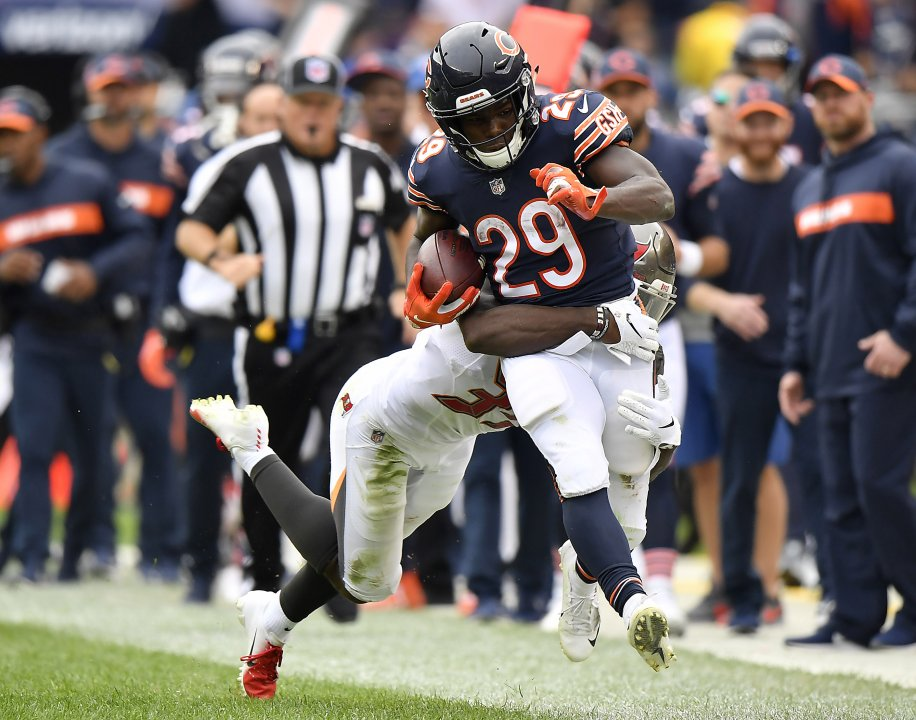 0c3f7b1858b Sep 30, 2018; Chicago, IL, USA; Chicago Bears running back Tarik Cohen (29)  is tackled in the second quarter by Tampa Bay Buccaneers defensive back  Isaiah ...