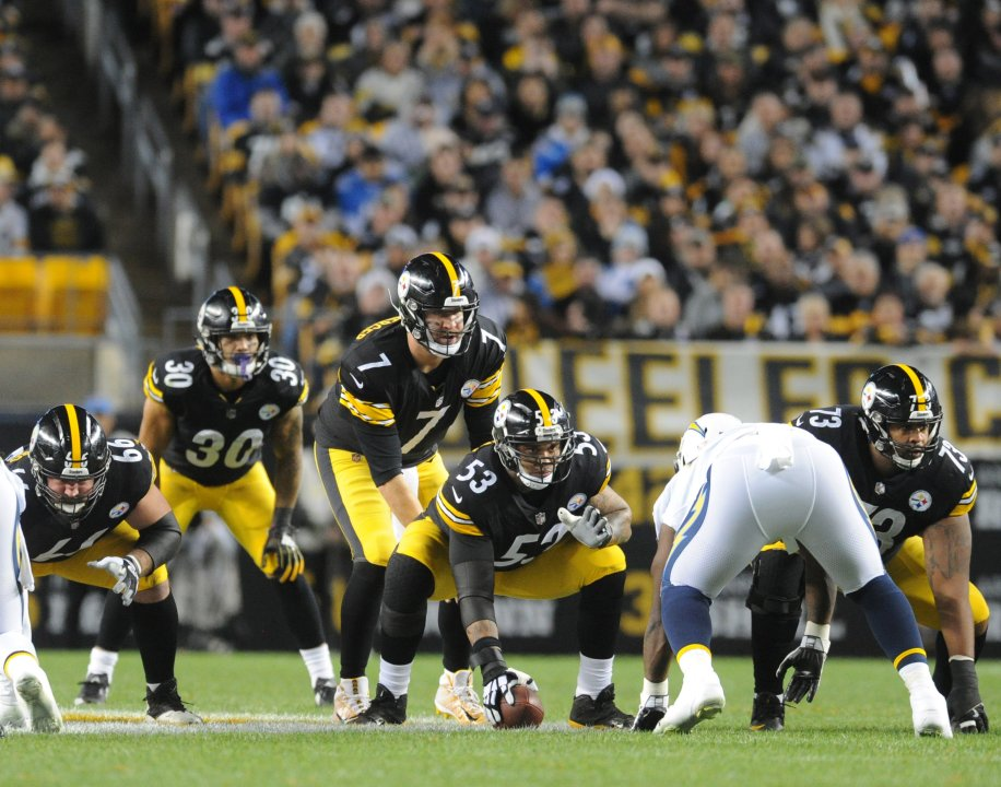 cd0a6dc4aab Dec 2, 2018; Pittsburgh, PA, USA; Pittsburgh Steelers offensive line David  DeCastro (66) and Maurkice Pouncey (53) and Ramon Foster (73) line up with  ...