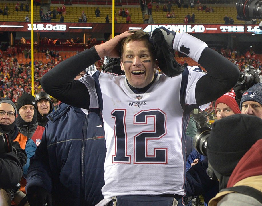 b7a82e20 Jan 20, 2019; Kansas City, MO, USA; New England Patriots quarterback Tom  Brady (12) reacts after defeating the Kansas City Chiefs during overtime in  the AFC ...