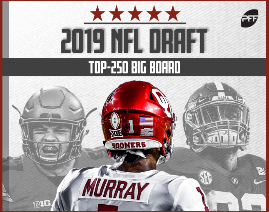 5add29229 Pro Football Focus' Top-250 Big Board for the 2019 NFL Draft is live! PFF's  team of draft analysts, led by Steve Palazzolo and Mike Renner, have put ...