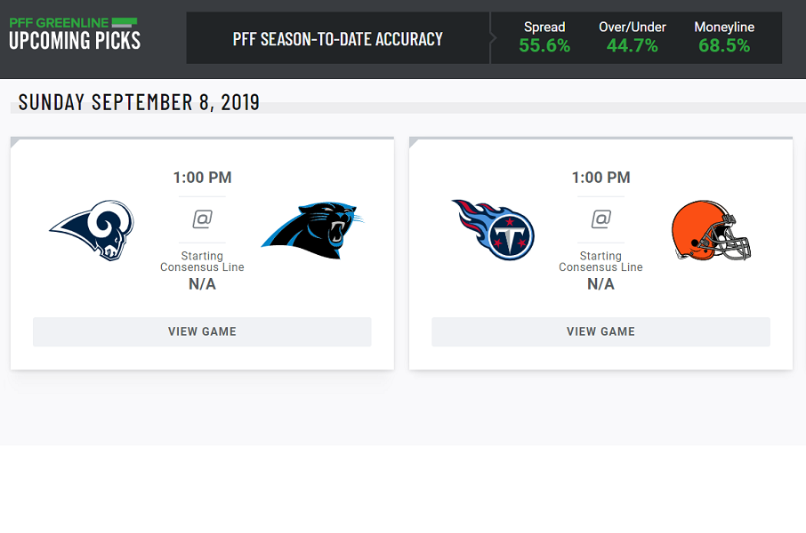 pff greenline game picks